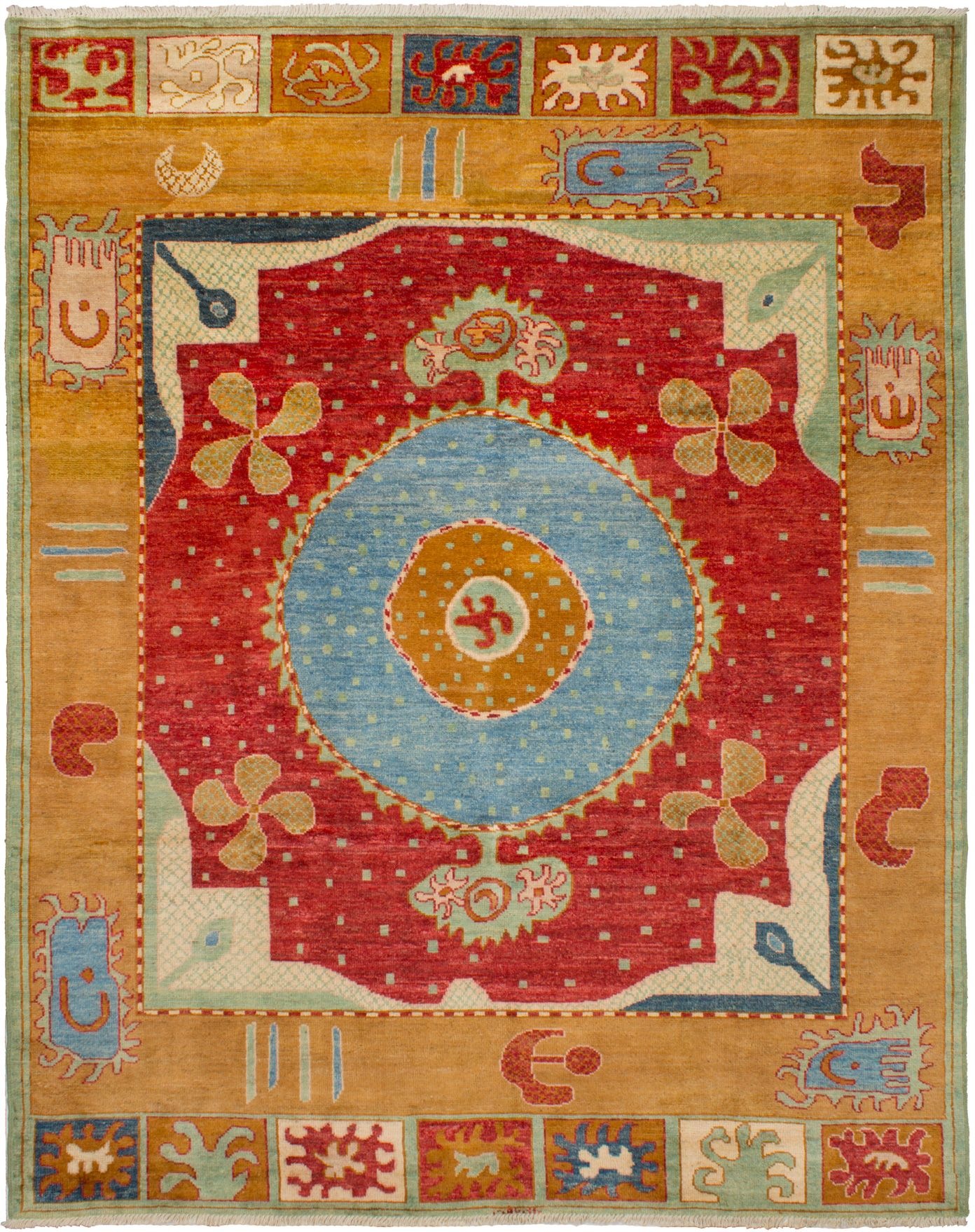 Hand-knotted Shalimar Light Brown, Red Wool Rug 9'7in x 11'10in at RugsBySize.com
