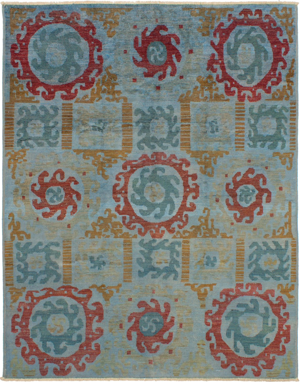"""Hand-knotted Shalimar Light Blue  Wool Rug 8'0"""" x 10'3"""" Size: 8'0"""" x 10'3"""""""
