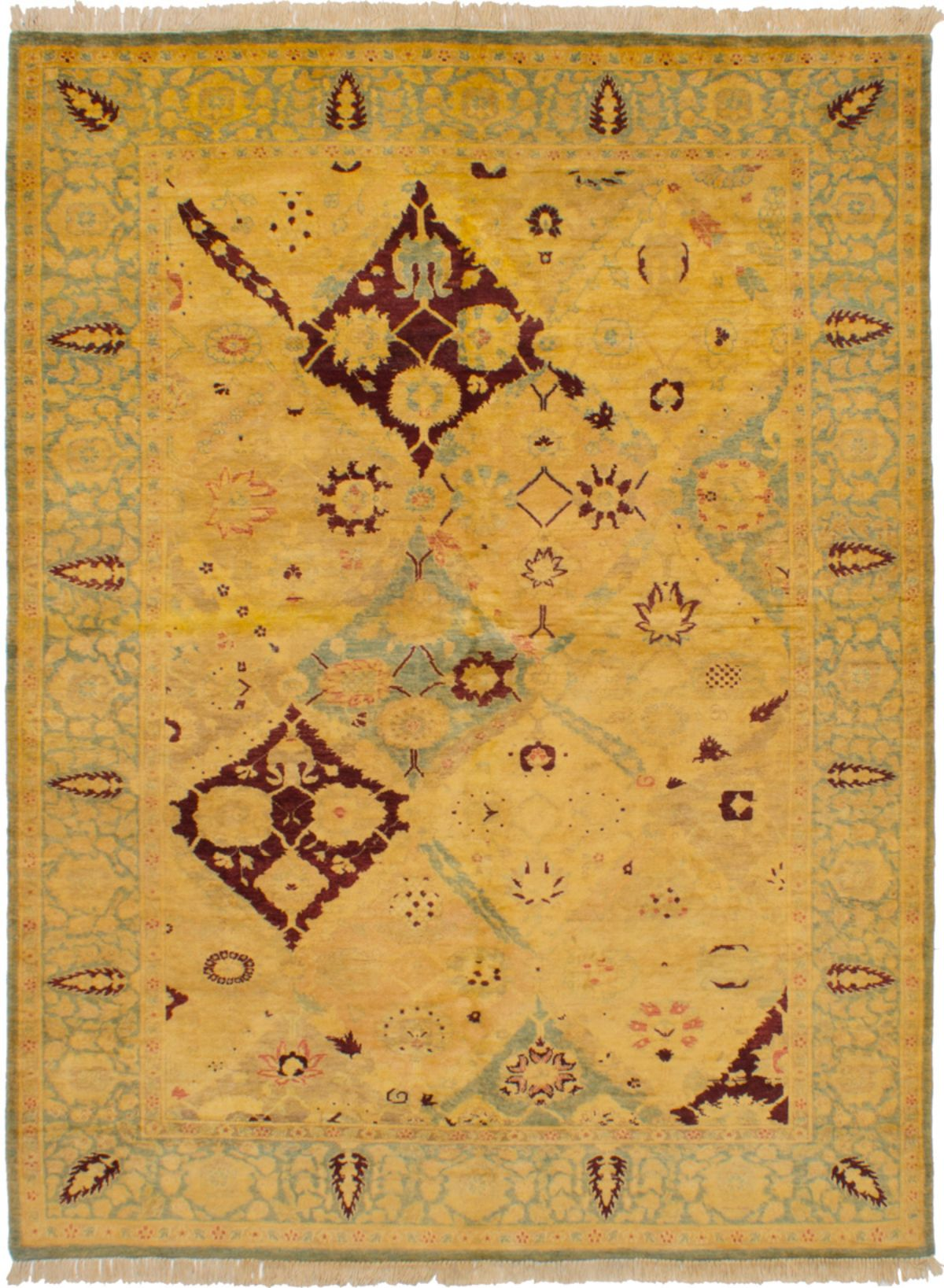 Hand-knotted Peshawar Finest Cream Wool Rug 6'1in x 8'1in at RugsBySize.com