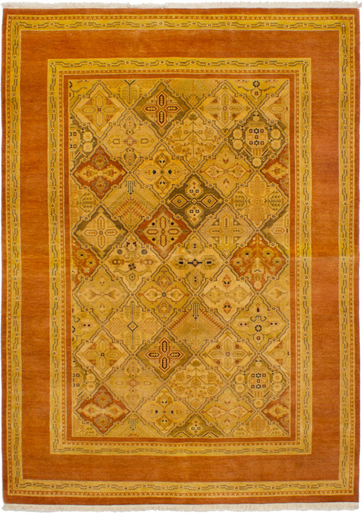 Hand-knotted Peshawar Finest Dark Copper, Light Khaki Wool Rug 6'0in x 8'10in at RugsBySize.com