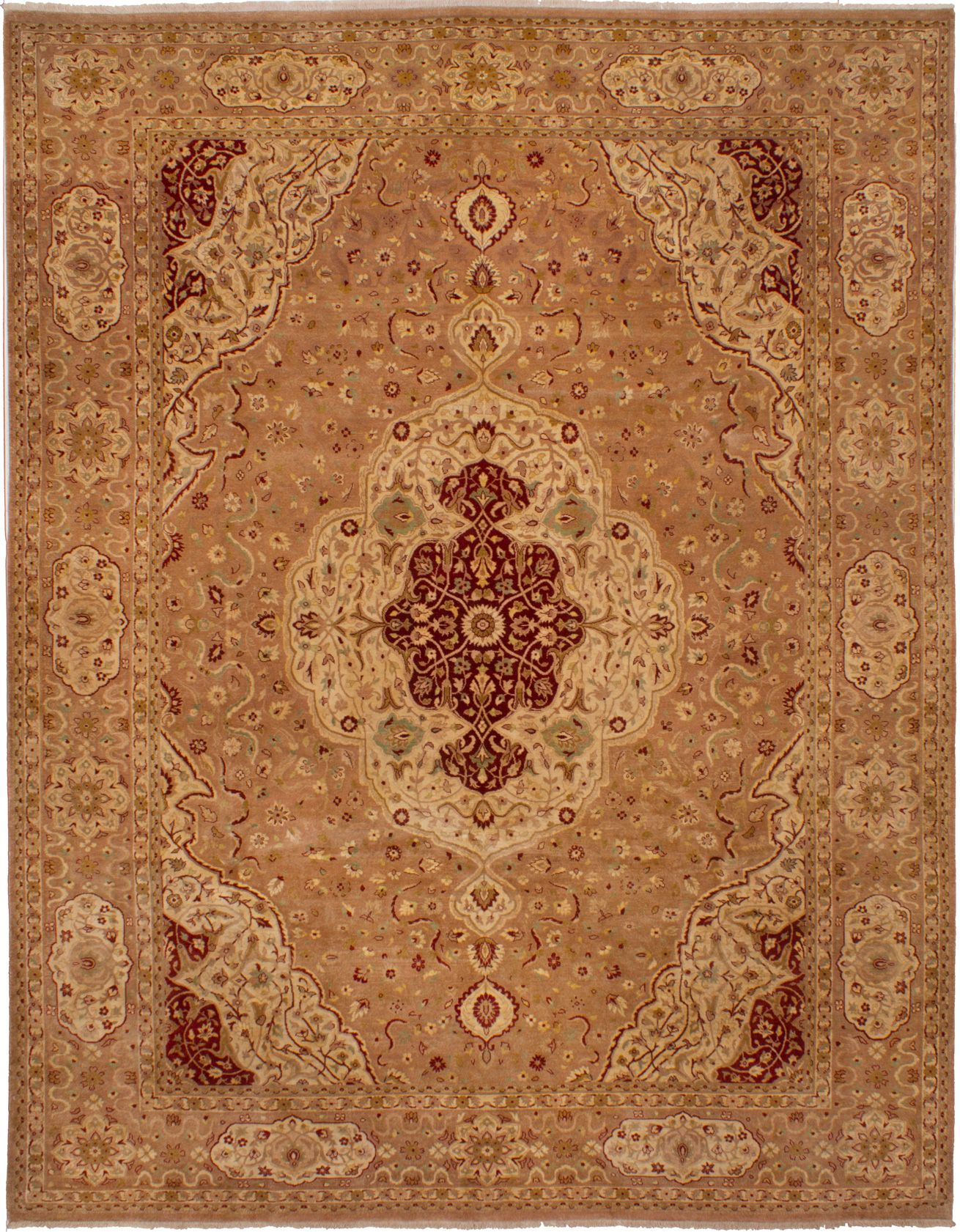 Hand-knotted Peshawar Finest Tan Wool Rug 9'2in x 11'9in at RugsBySize.com