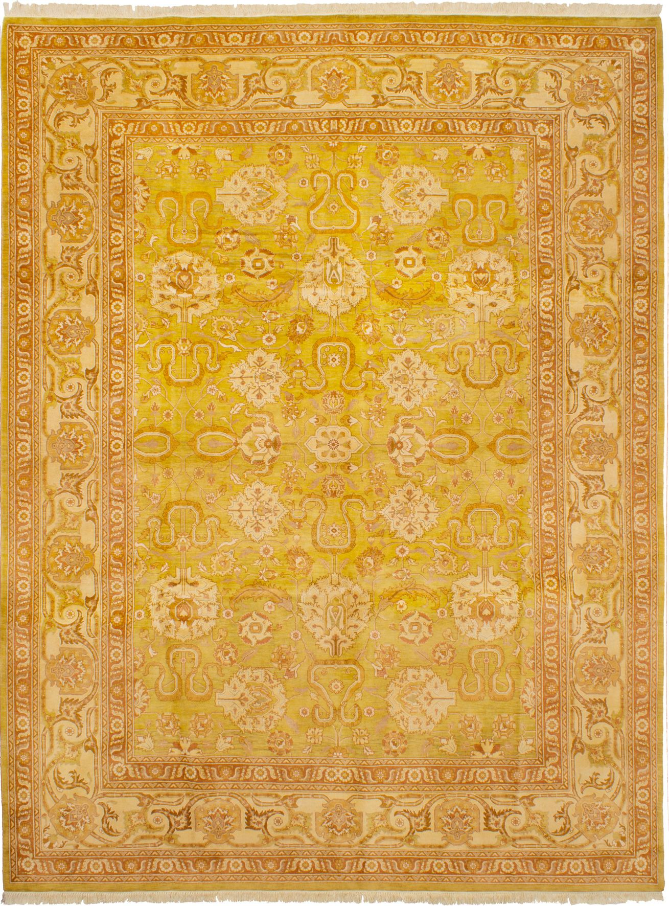 Hand-knotted Peshawar Finest Olive Wool Rug 9'0in x 12'0in at RugsBySize.com