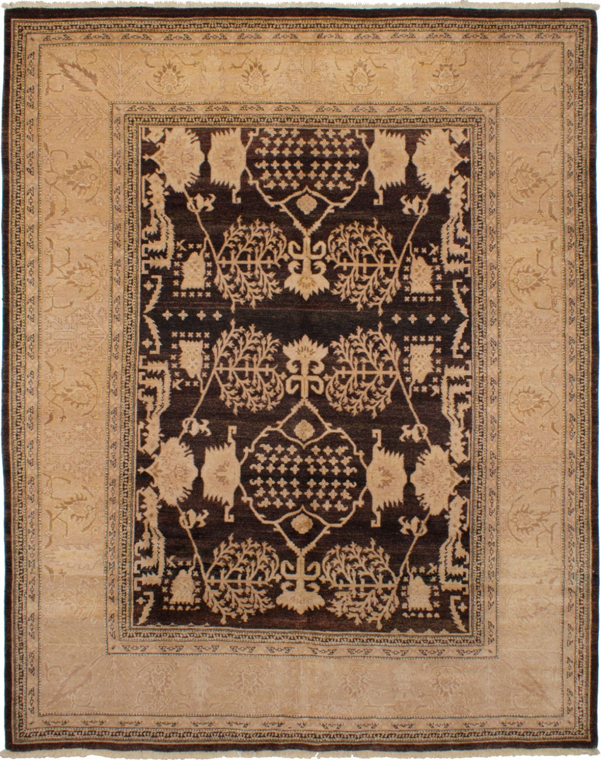 Hand-knotted Chobi Twisted Dark Brown Wool Rug 8'0in x 10'0in  at RugsBySize.com