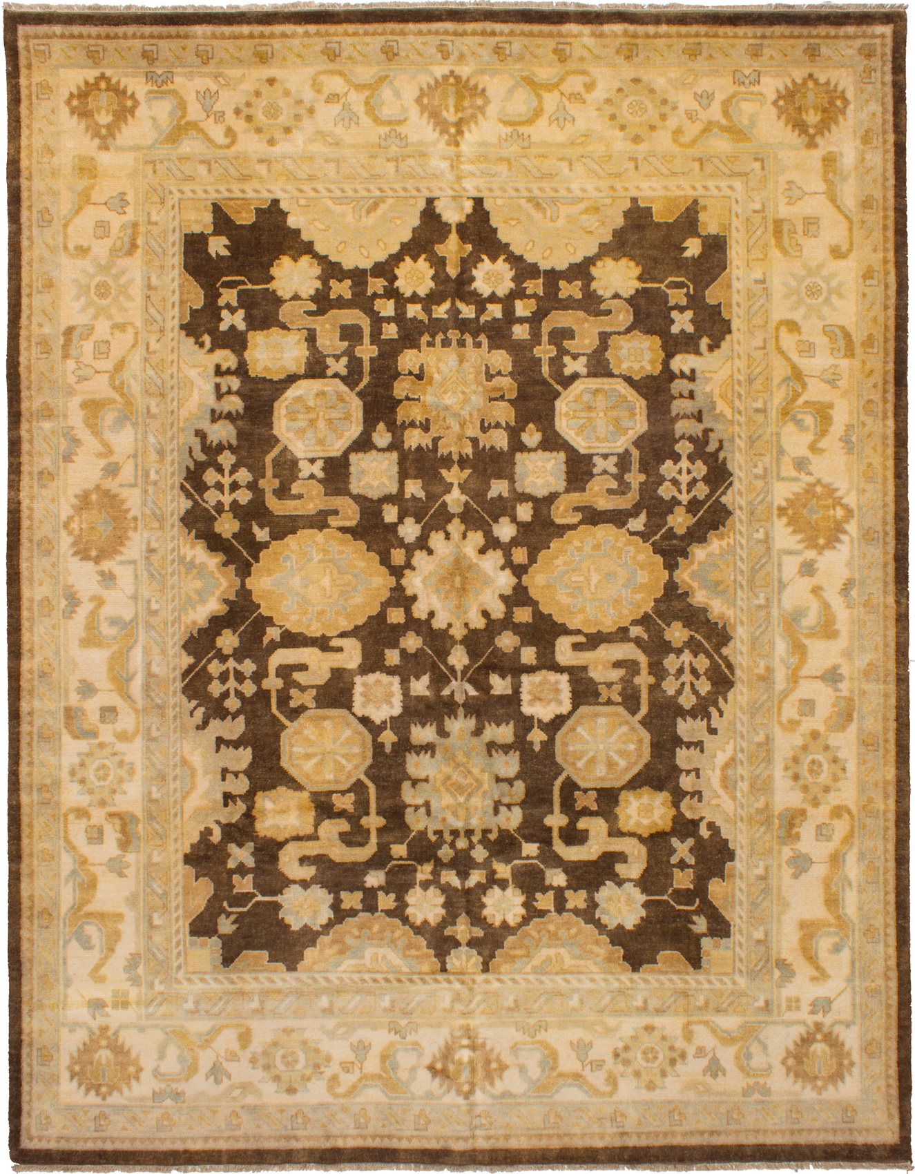 Hand-knotted Royal Ushak Dark Brown Wool Rug 9'1in x 11'10in at RugsBySize.com