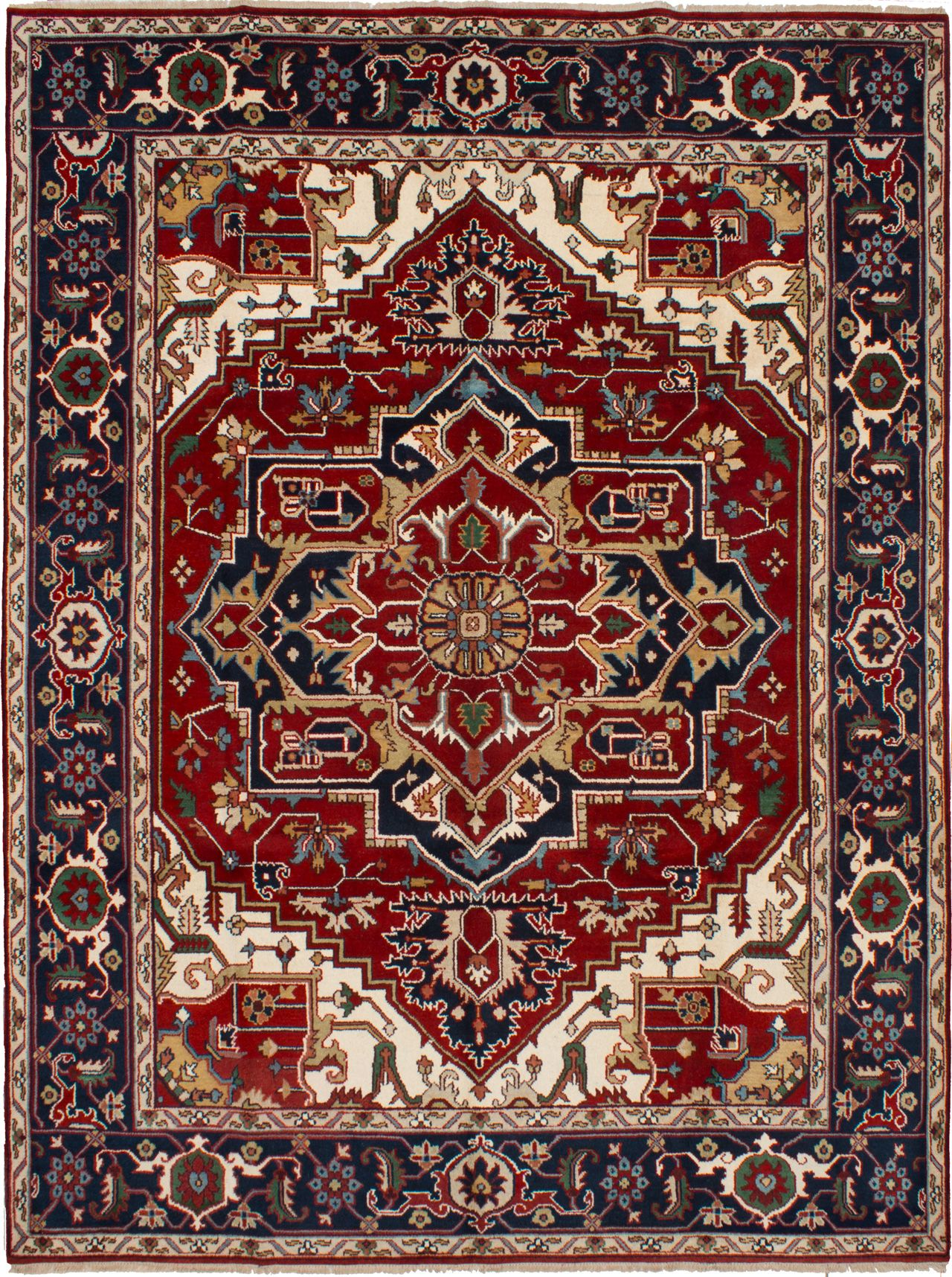 Hand-knotted Serapi Heritage Dark Red Wool Rug 9'2in x 12'2in at RugsBySize.com
