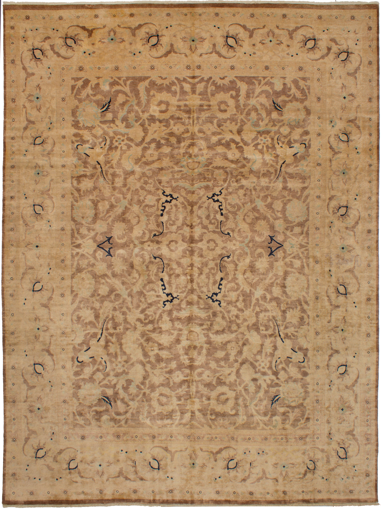 Hand-knotted Peshawar Finest Brown Wool Rug 8'10in x 11'10in at RugsBySize.com