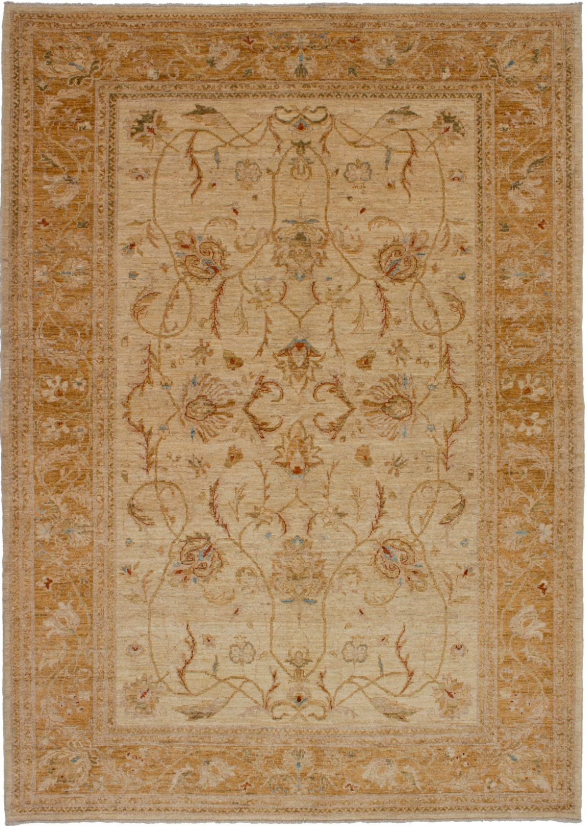 Hand-knotted Chobi Finest Cream Wool Rug 6'4in x 8'10in at RugsBySize.com