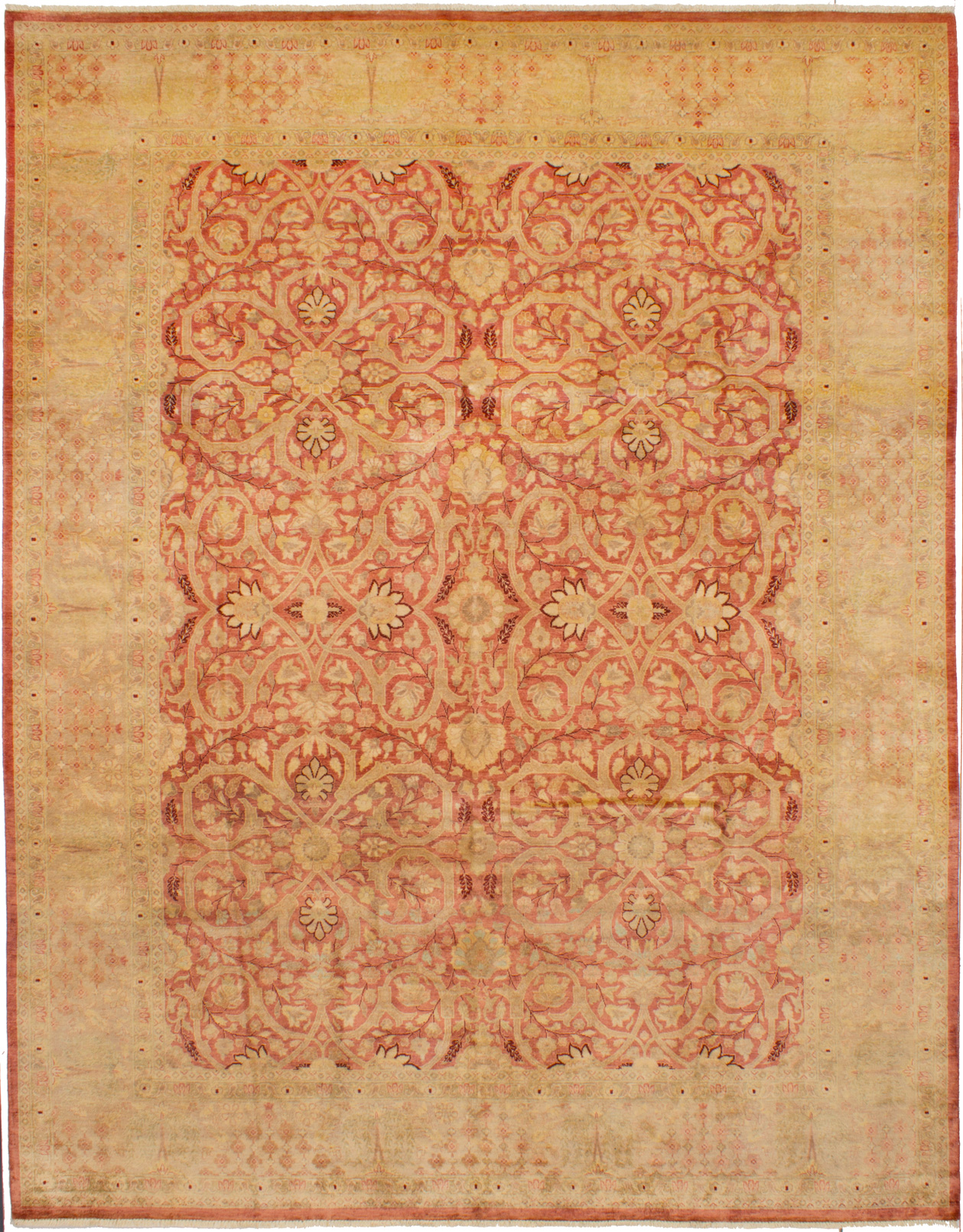 Hand-knotted Peshawar Finest Dark Pink Wool Rug 8'11in x 11'4in at RugsBySize.com