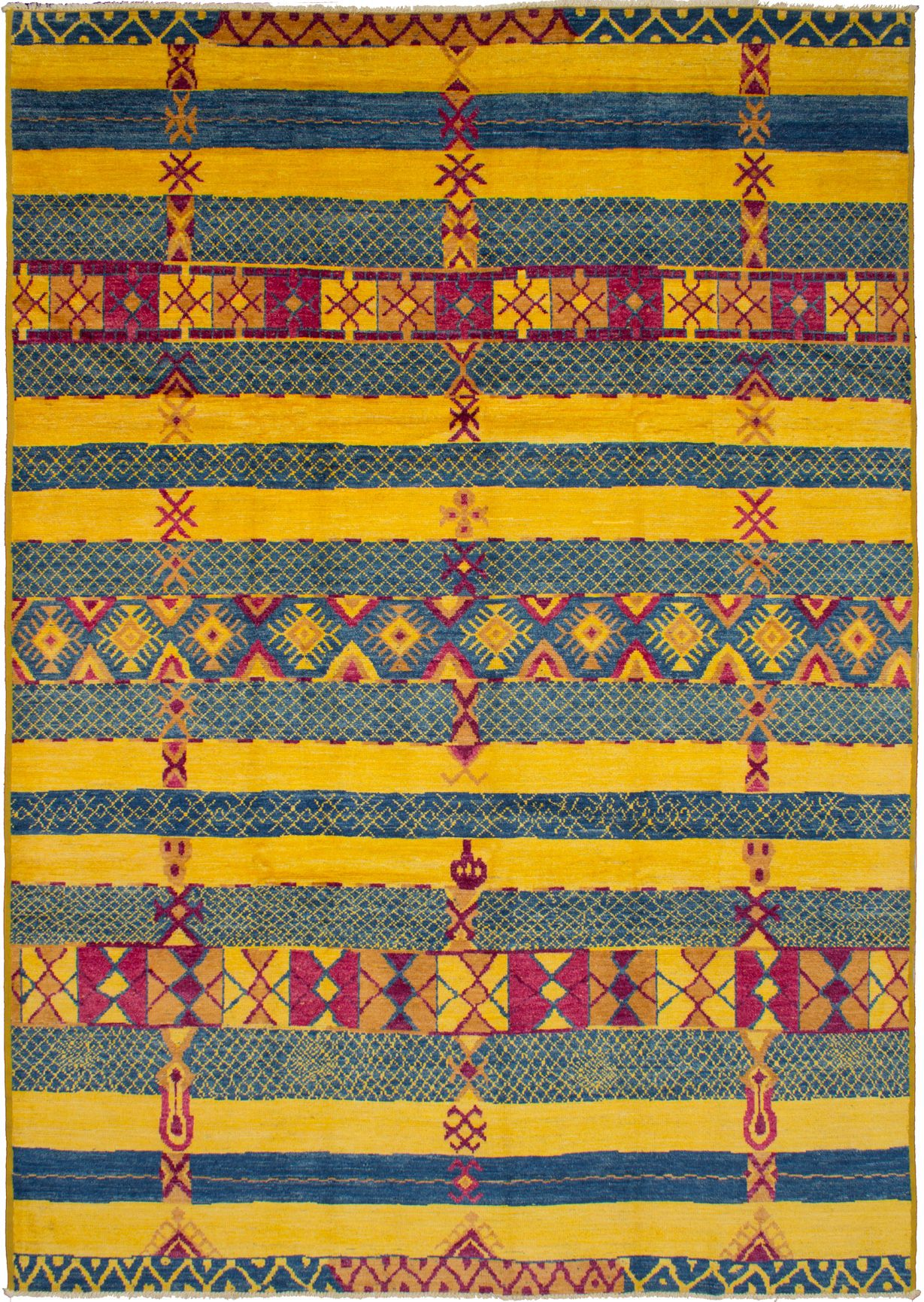 """Hand-knotted Shalimar Blue, Yellow Wool Rug 9'10"""" x 13'10"""" Size: 9'10"""" x 13'10"""""""