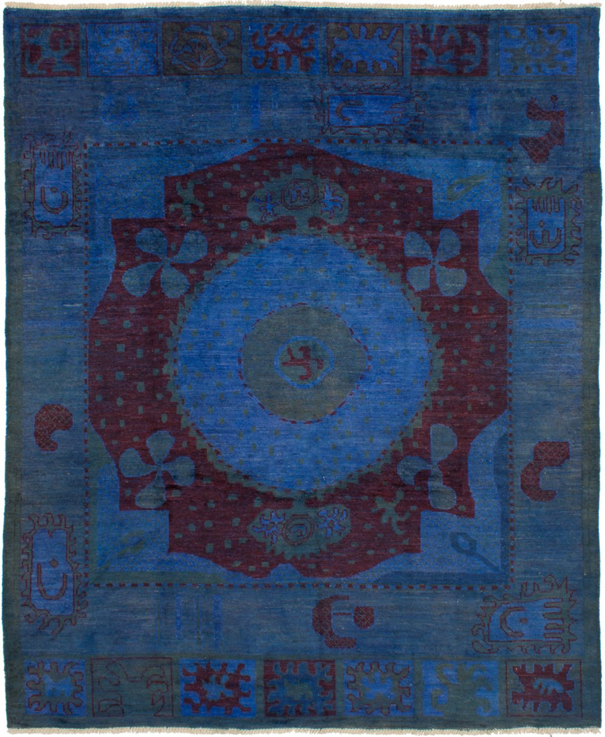 """Hand-knotted Vibrance Dark Blue Wool Rug 8'3"""" x 9'11"""" Size: 8'3"""" x 9'11"""""""