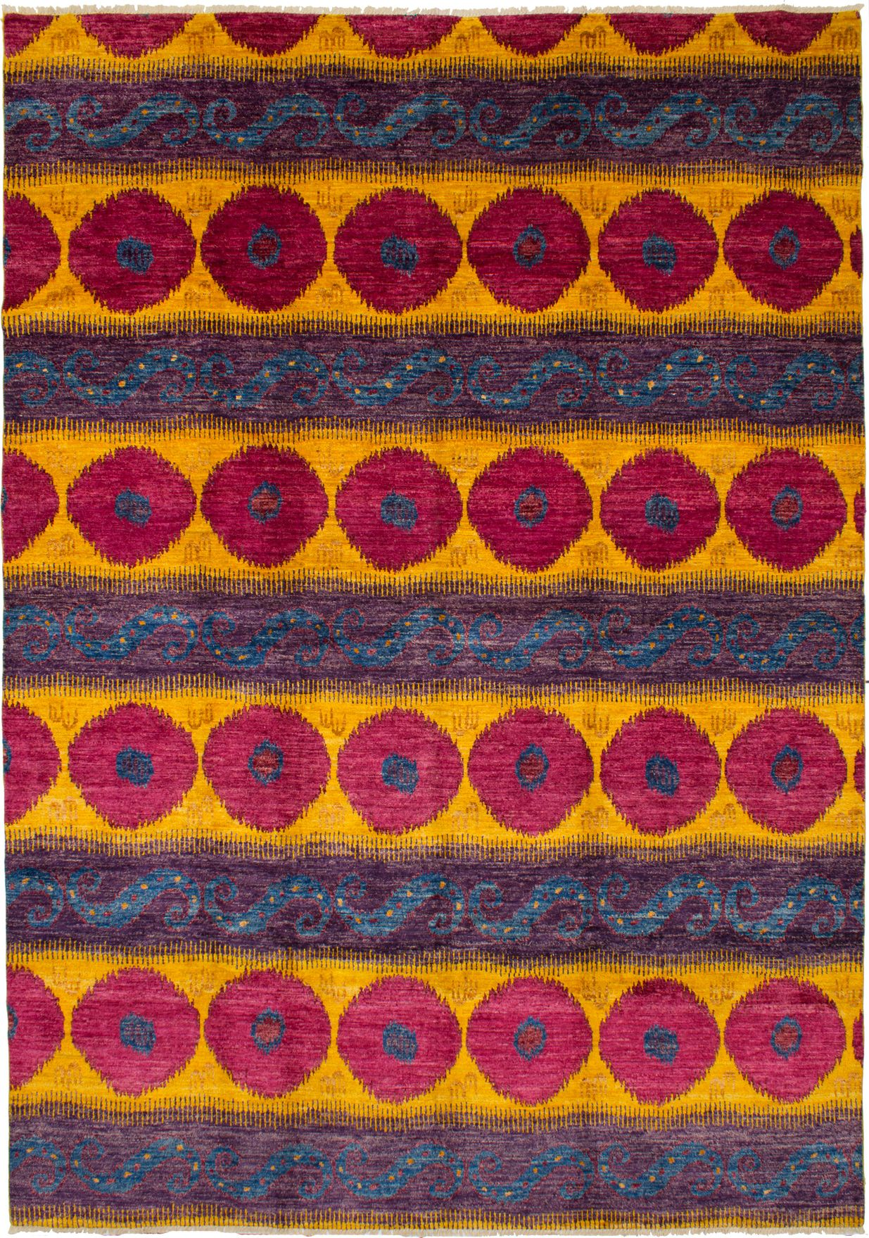 Hand-knotted Shalimar Red, Yellow Wool Rug 9'10in x 14'2in at RugsBySize.com