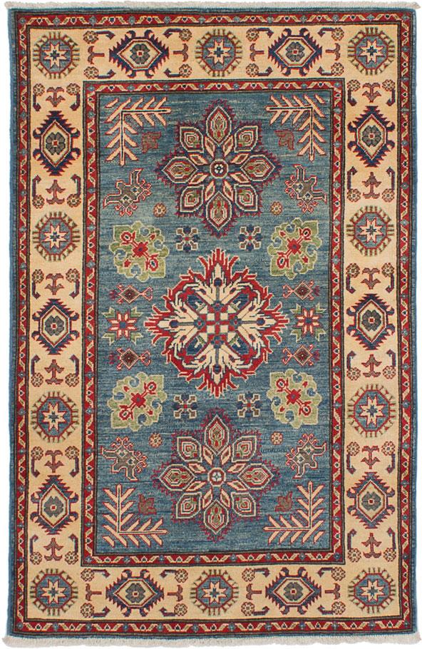 "Hand-knotted Finest Gazni Light Denim Blue Wool Rug 3'10"" x 6'1"" Size: 3'10"" x 6'1"""