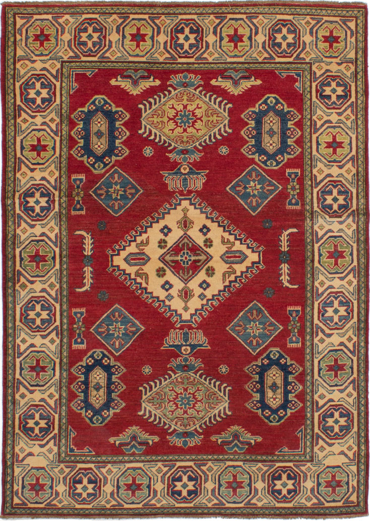 """Hand-knotted Finest Gazni Red Wool Rug 5'0"""" x 6'10""""  Size: 5'0"""" x 6'10"""""""