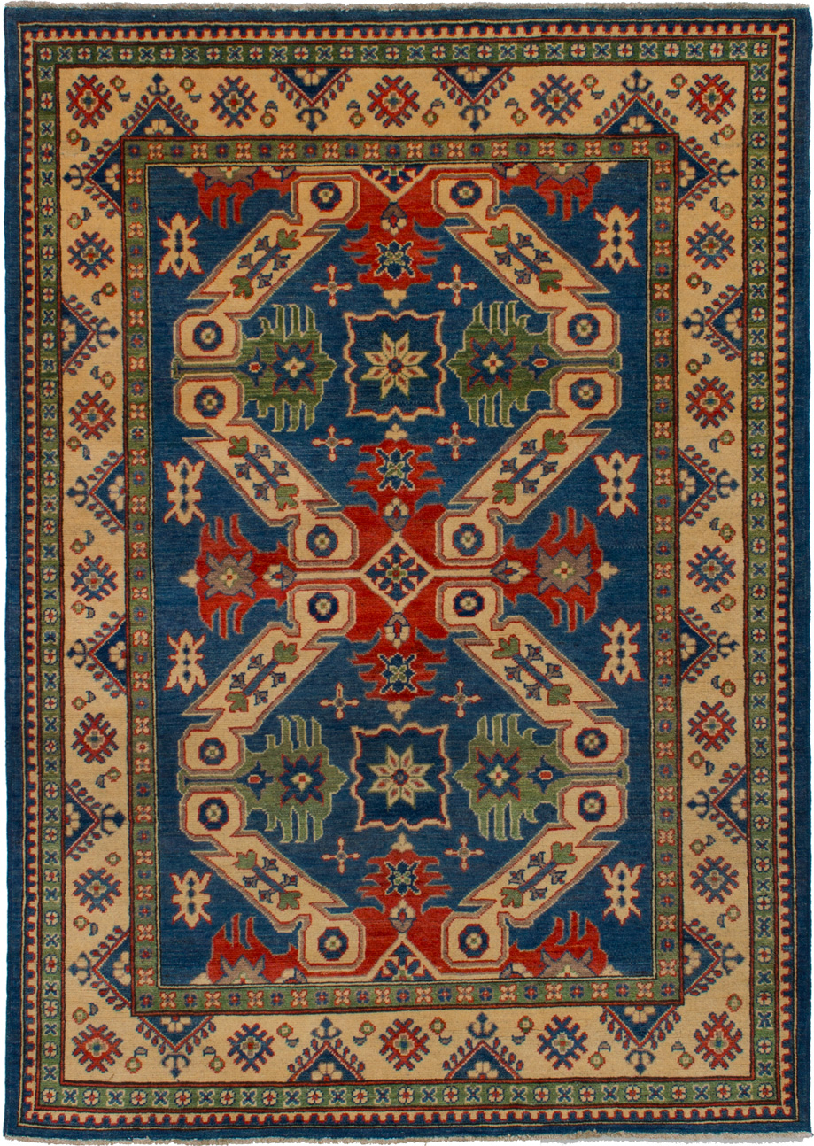 """Hand-knotted Finest Gazni Blue,  Wool Rug 5'0"""" x 6'10"""" Size: 5'0"""" x 6'10"""""""