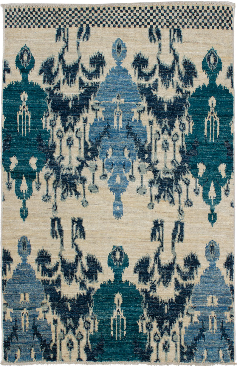 """Hand-knotted Shalimar Blue, Cream Wool Rug 4'0"""" x 6'3"""" Size: 4'0"""" x 6'3"""""""