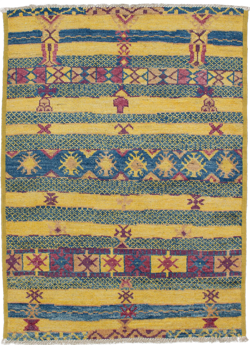 """Hand-knotted Shalimar Blue, Light Gold Wool Rug 4'2"""" x 5'7"""" Size: 4'2"""" x 5'7"""""""