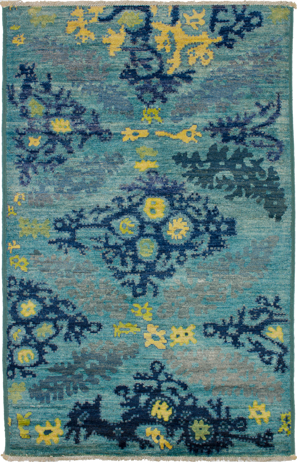 """Hand-knotted Shalimar Sky Blue Wool Rug 5'4"""" x 8'3"""" Size: 5'4"""" x 8'3"""""""