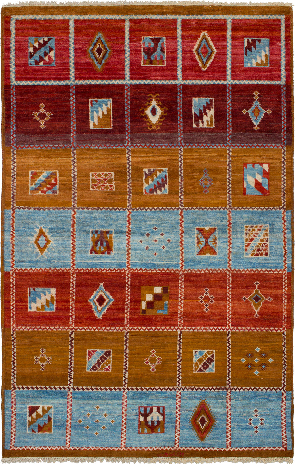 """Hand-knotted Shalimar Dark Copper, Light Blue  Wool Rug 5'3"""" x 8'2"""" Size: 5'3"""" x 8'2"""""""