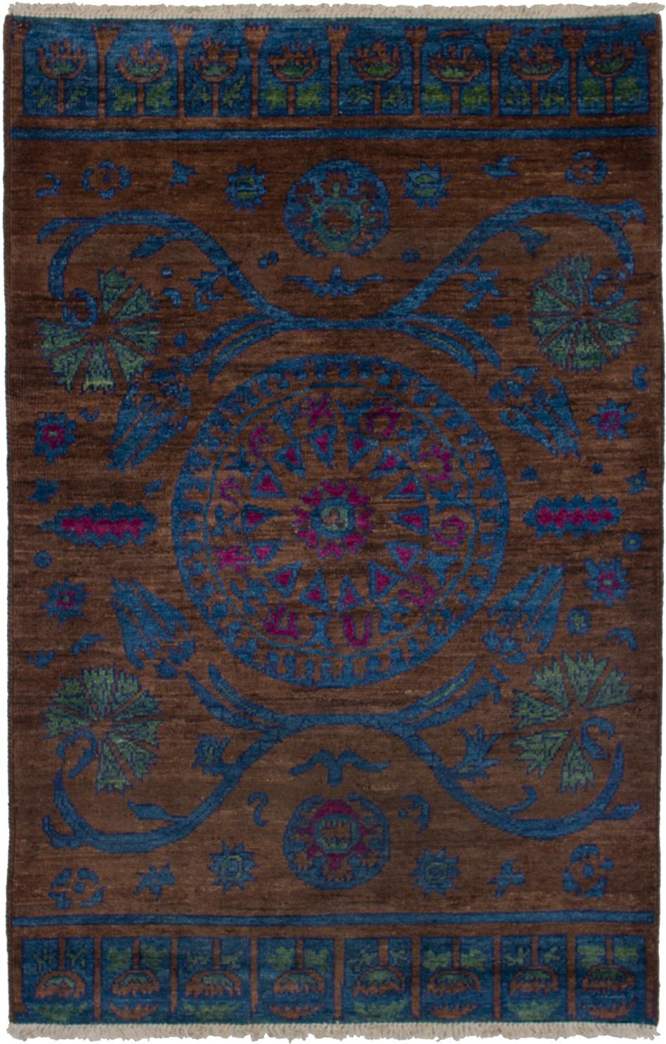 "Hand-knotted Shalimar Blue, Dark Brown Wool Rug 5'2"" x 7'10"" Size: 5'2"" x 7'10"""