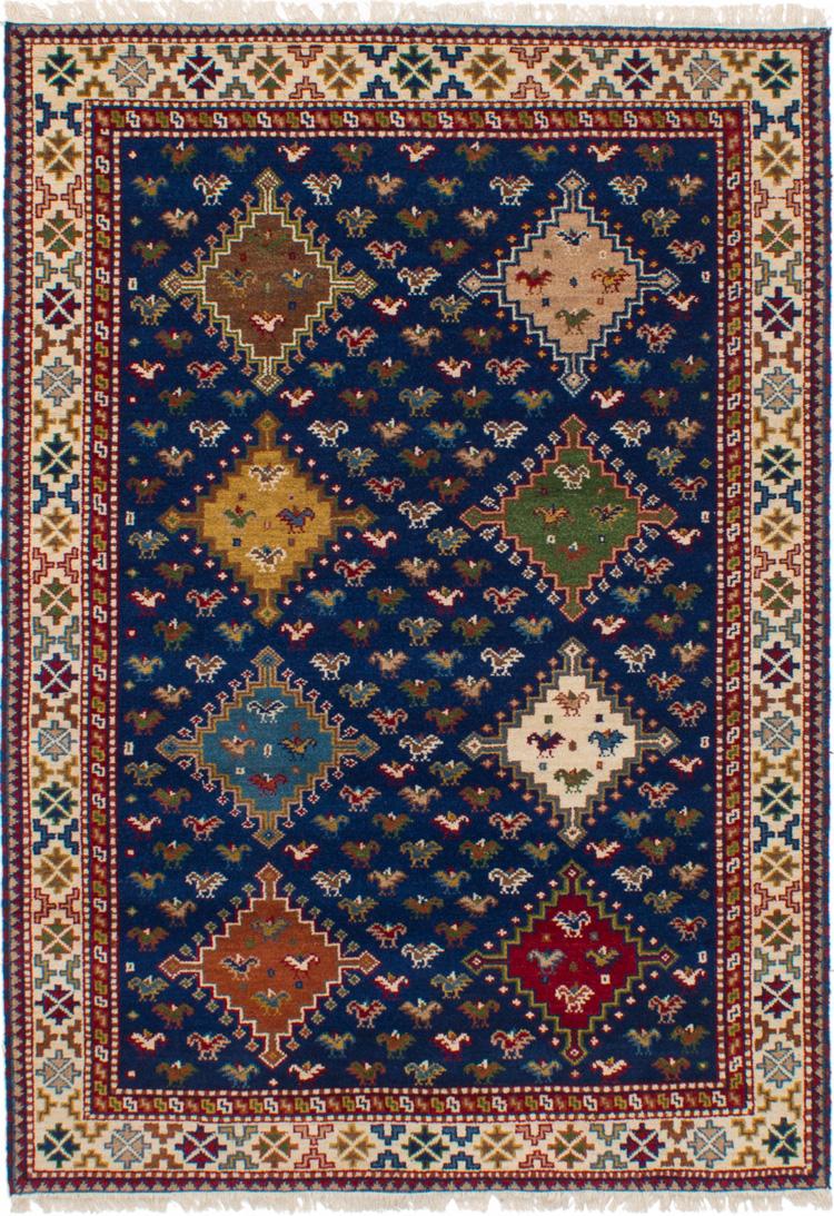 "Hand-knotted Finest Kazak Navy Blue Wool Rug 5'3"" x 7'7"" Size: 5'3"" x 7'7"""