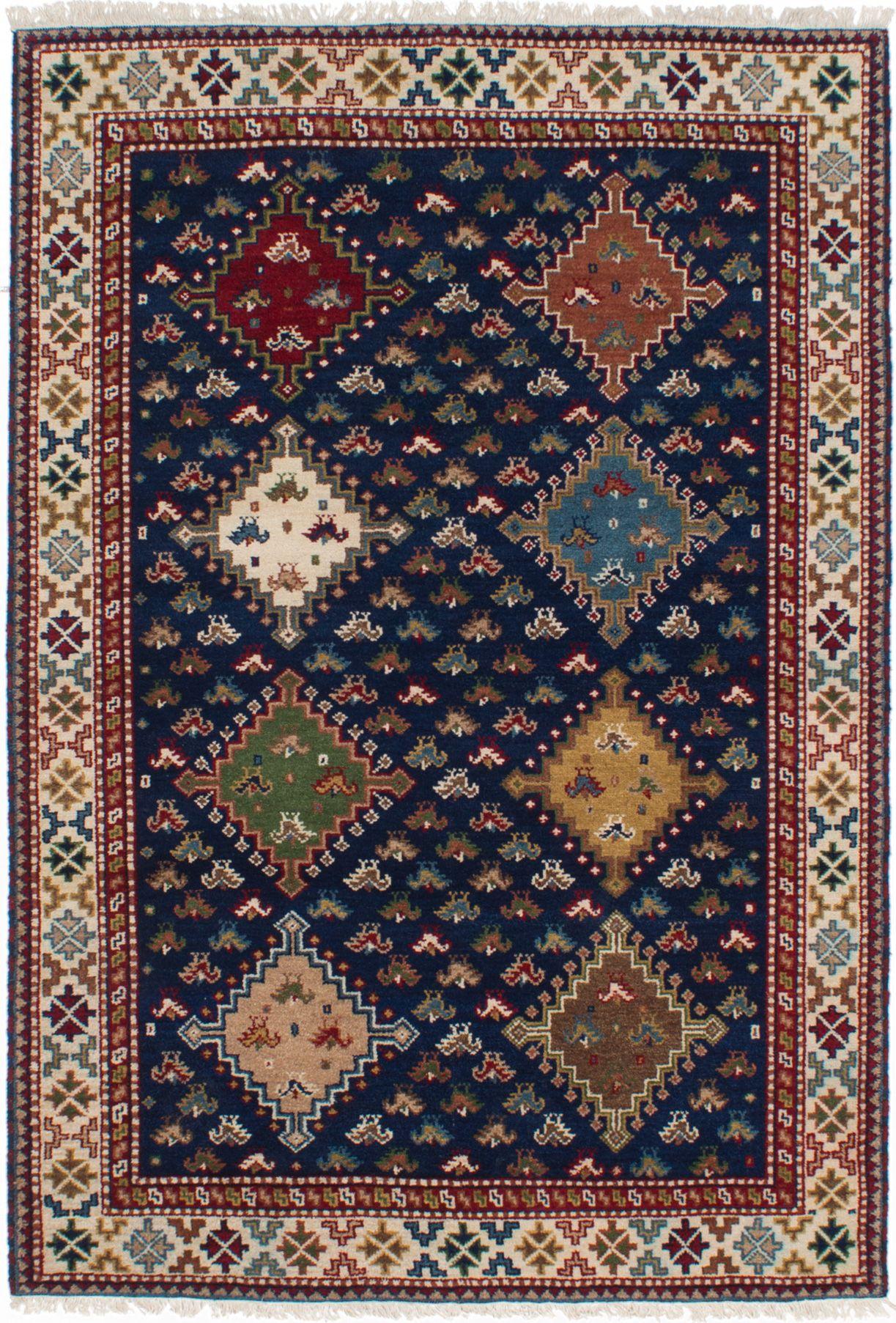 "Hand-knotted Finest Kazak Navy Blue Wool Rug 5'2"" x 7'6"" Size: 5'2"" x 7'6"""
