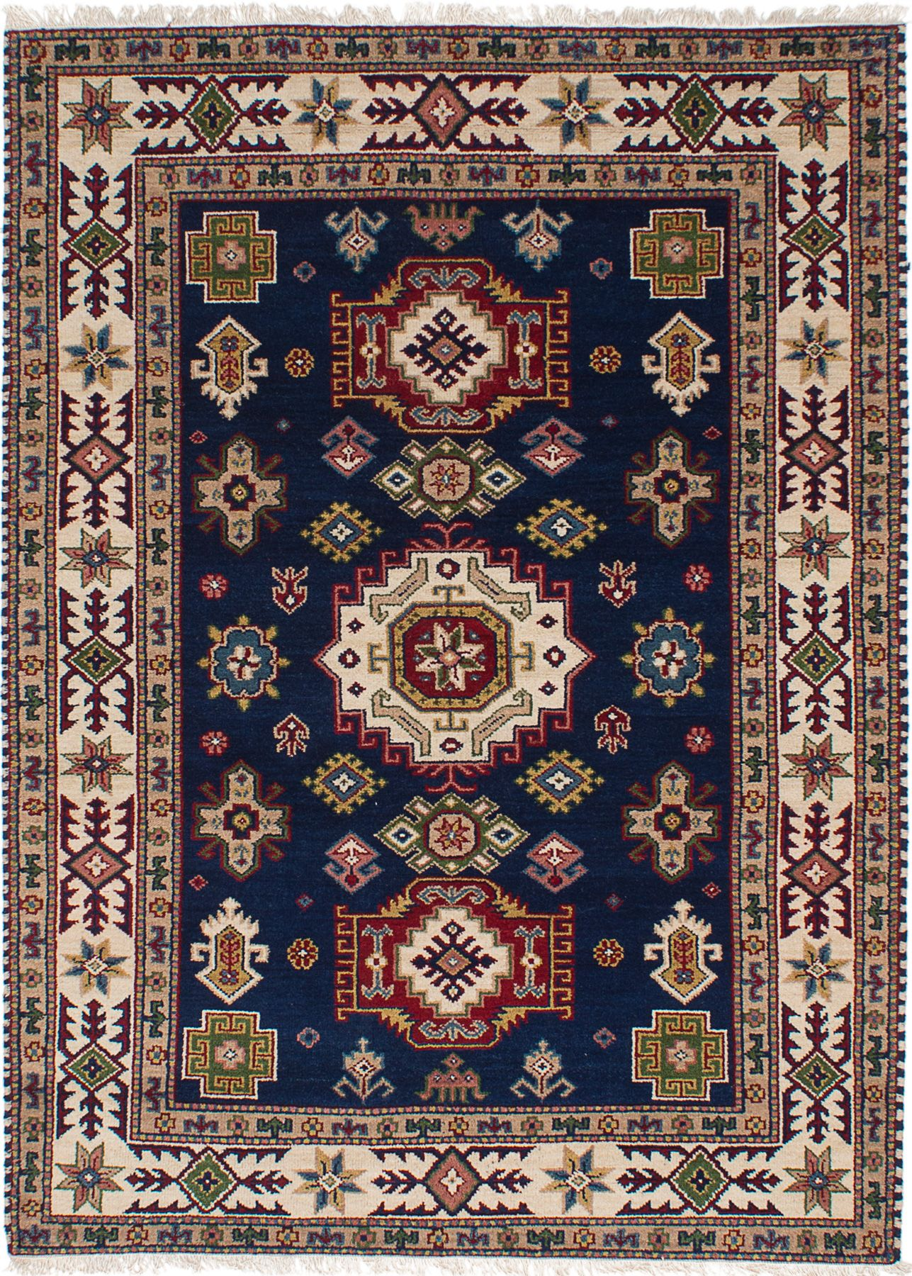 "Hand-knotted Finest Kazak Navy Blue Wool Rug 5'3"" x 7'6"" Size: 5'3"" x 7'6"""