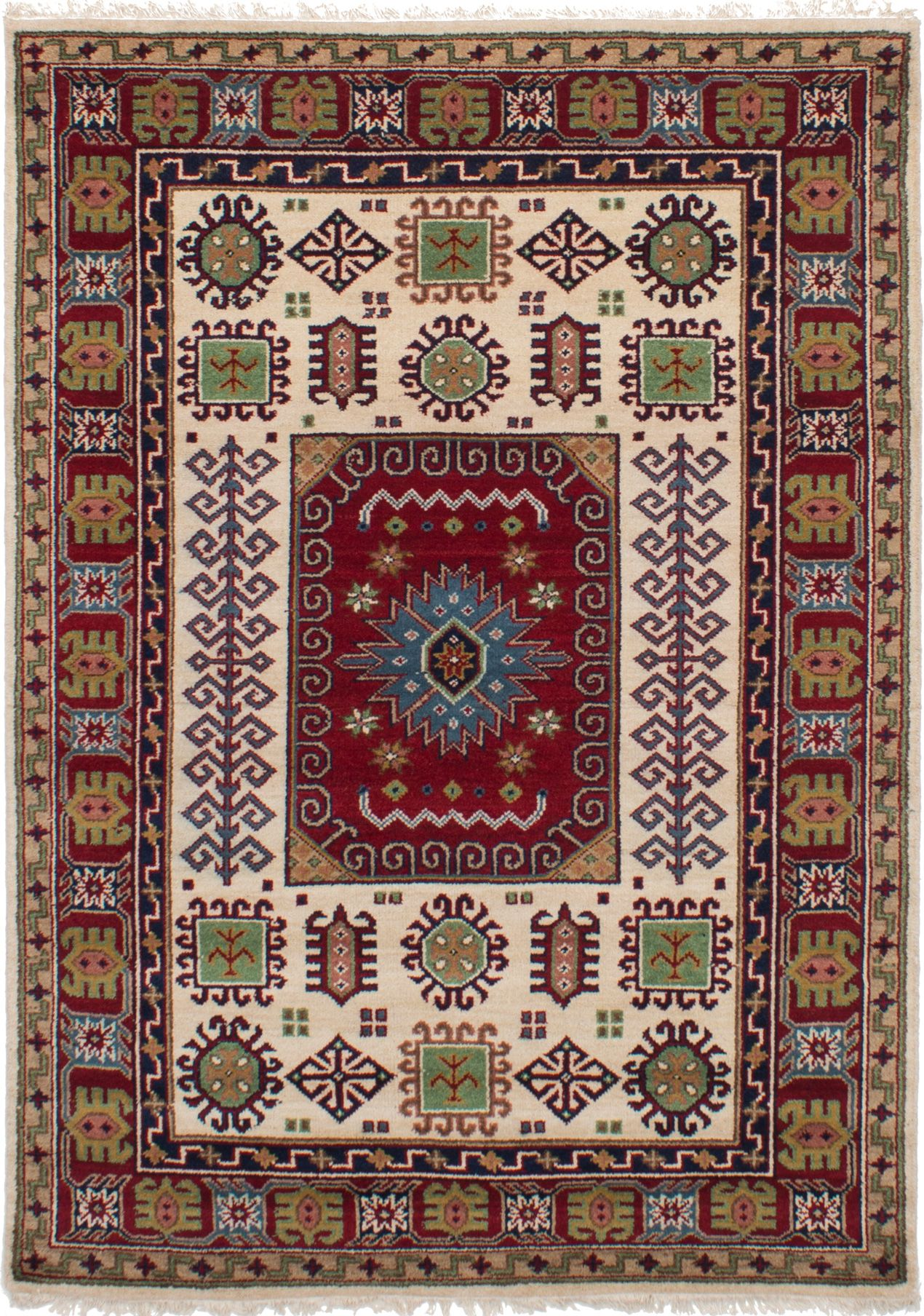 "Hand-knotted Finest Kazak Cream, Red Wool Rug 5'5"" x 7'7""  Size: 5'5"" x 7'7"""