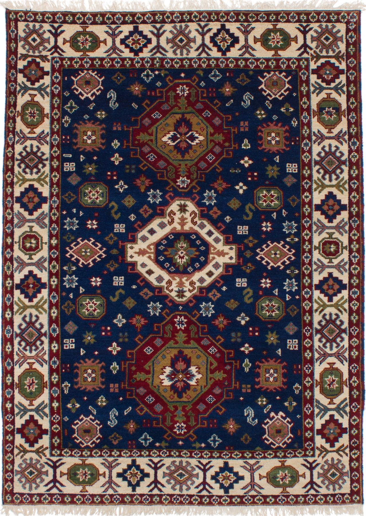 "Hand-knotted Finest Kazak Navy Blue Wool Rug 5'4"" x 7'6"" Size: 5'4"" x 7'6"""