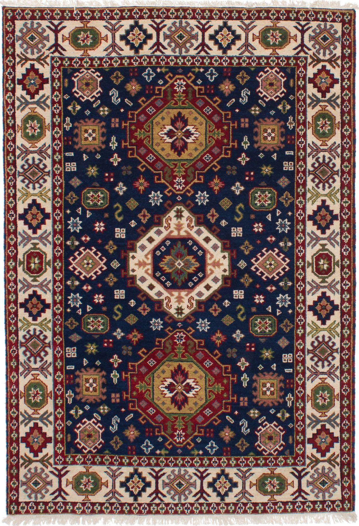 "Hand-knotted Finest Kazak Navy Blue Wool Rug 5'3"" x 7'8"" Size: 5'3"" x 7'8"""