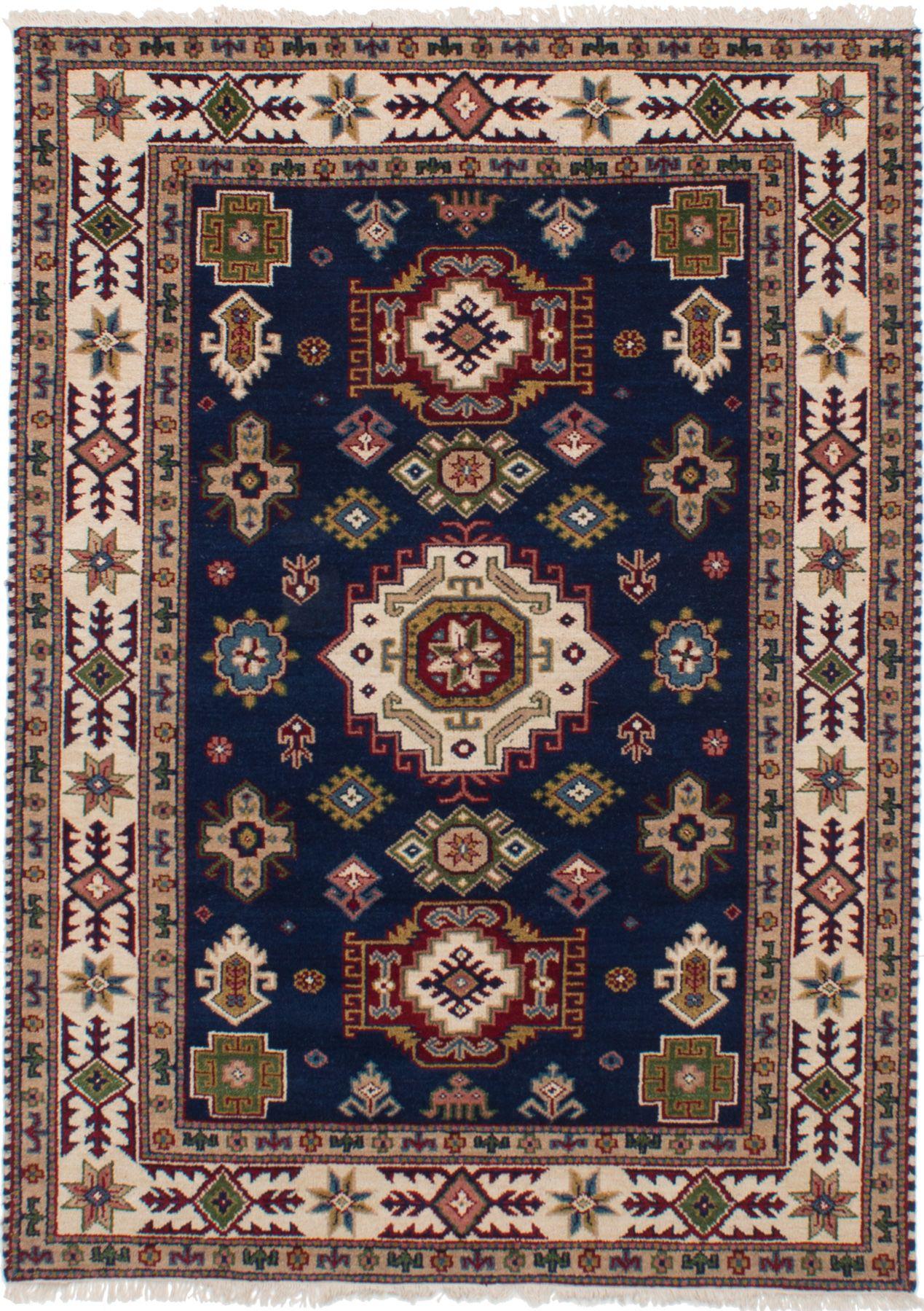 "Hand-knotted Finest Kazak Navy Blue Wool Rug 5'2"" x 7'7"" Size: 5'2"" x 7'7"""