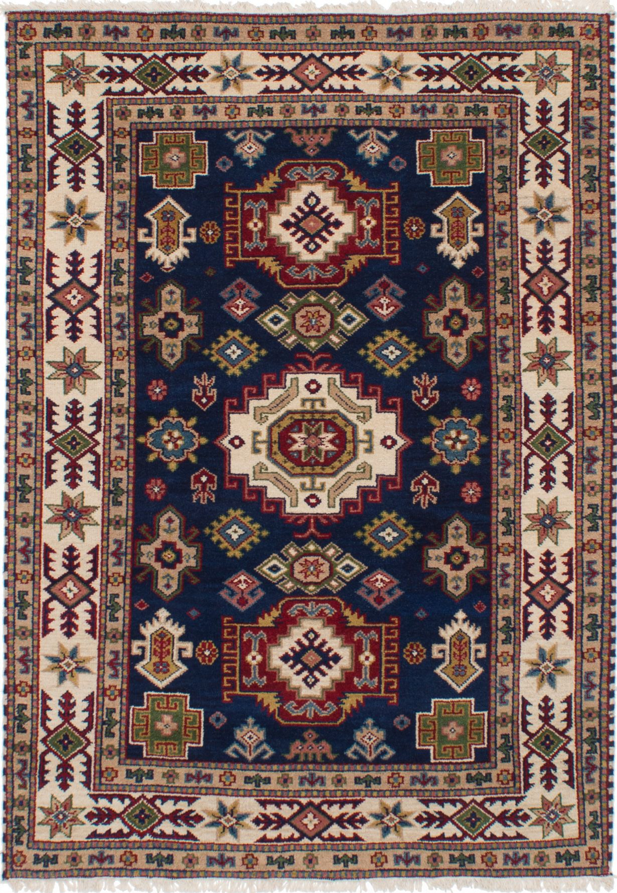 "Hand-knotted Finest Kazak Navy Blue Wool Rug 5'4"" x 7'7"" Size: 5'4"" x 7'7"""