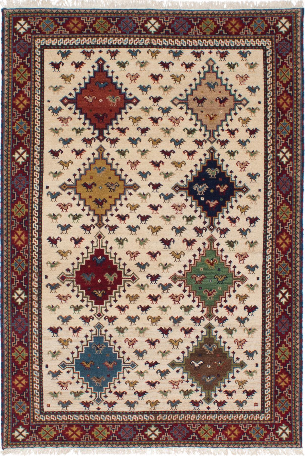 "Hand-knotted Finest Kazak Cream Wool Rug 5'2"" x 7'7"" Size: 5'2"" x 7'7"""