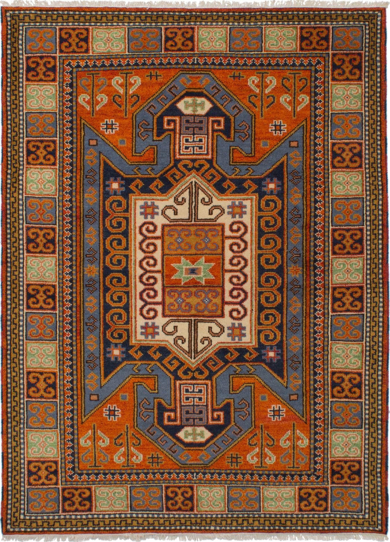 "Hand-knotted Royal Kazak Orange Wool Rug 5'10"" x 8'0"" Size: 5'10"" x 8'0"""