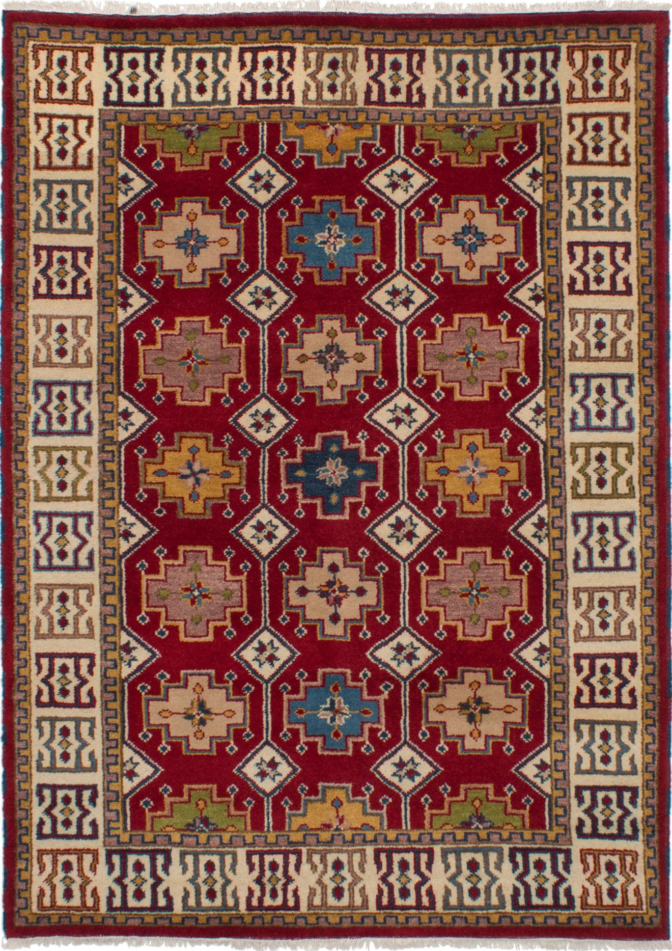 """Hand-knotted Royal Kazak Red Wool Rug 5'8"""" x 7'10"""" (20) Size: 5'8"""" x 7'10"""""""