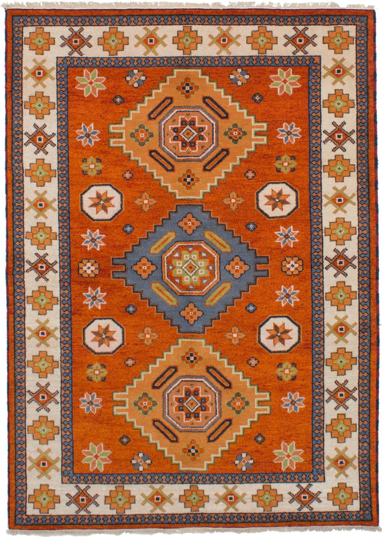 "Hand-knotted Royal Kazak Burnt Orange Wool Rug 5'8"" x 7'11"" Size: 5'8"" x 7'11"""