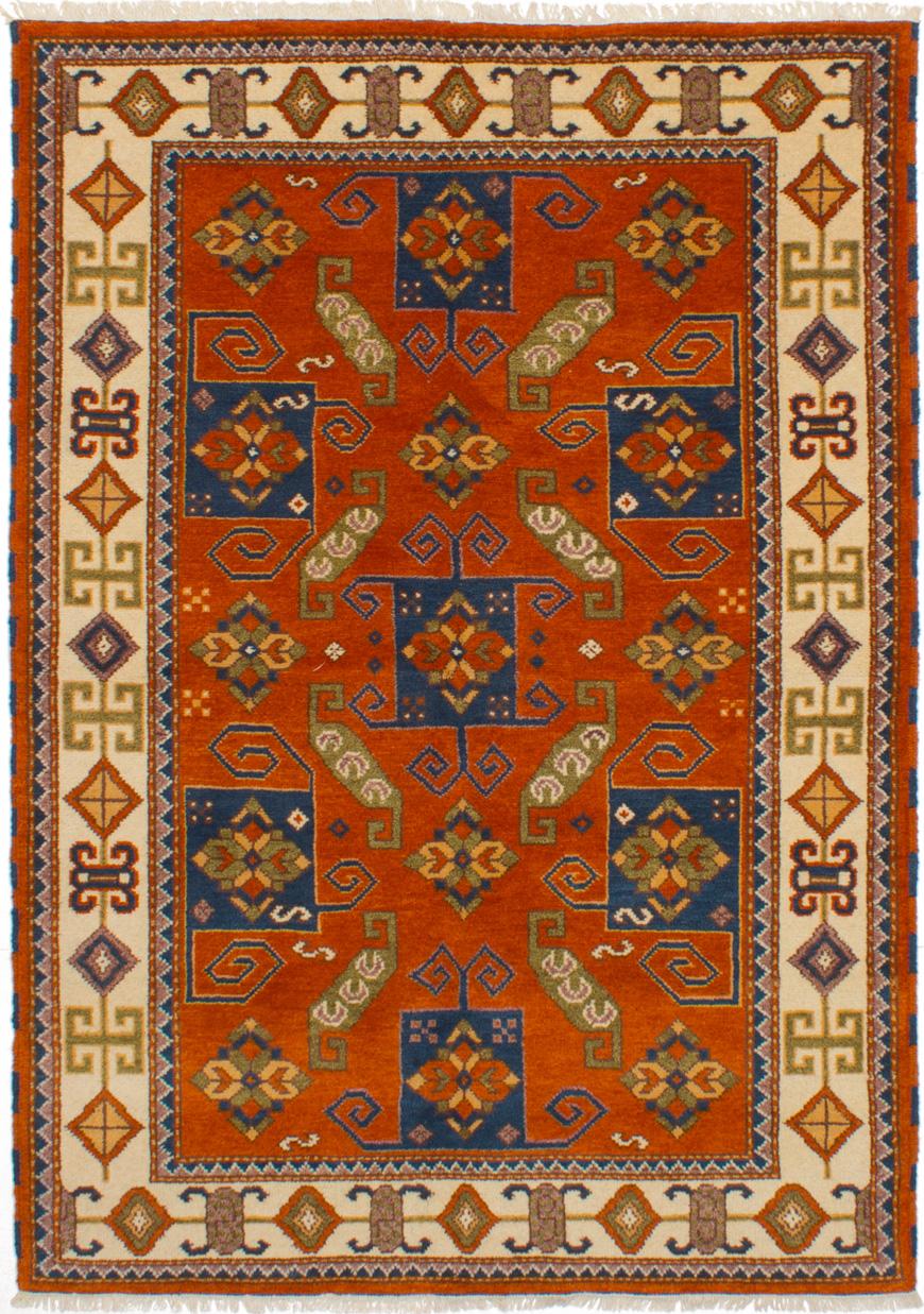 "Hand-knotted Royal Kazak Orange Wool Rug 5'5"" x 7'9"" Size: 5'5"" x 7'9"""
