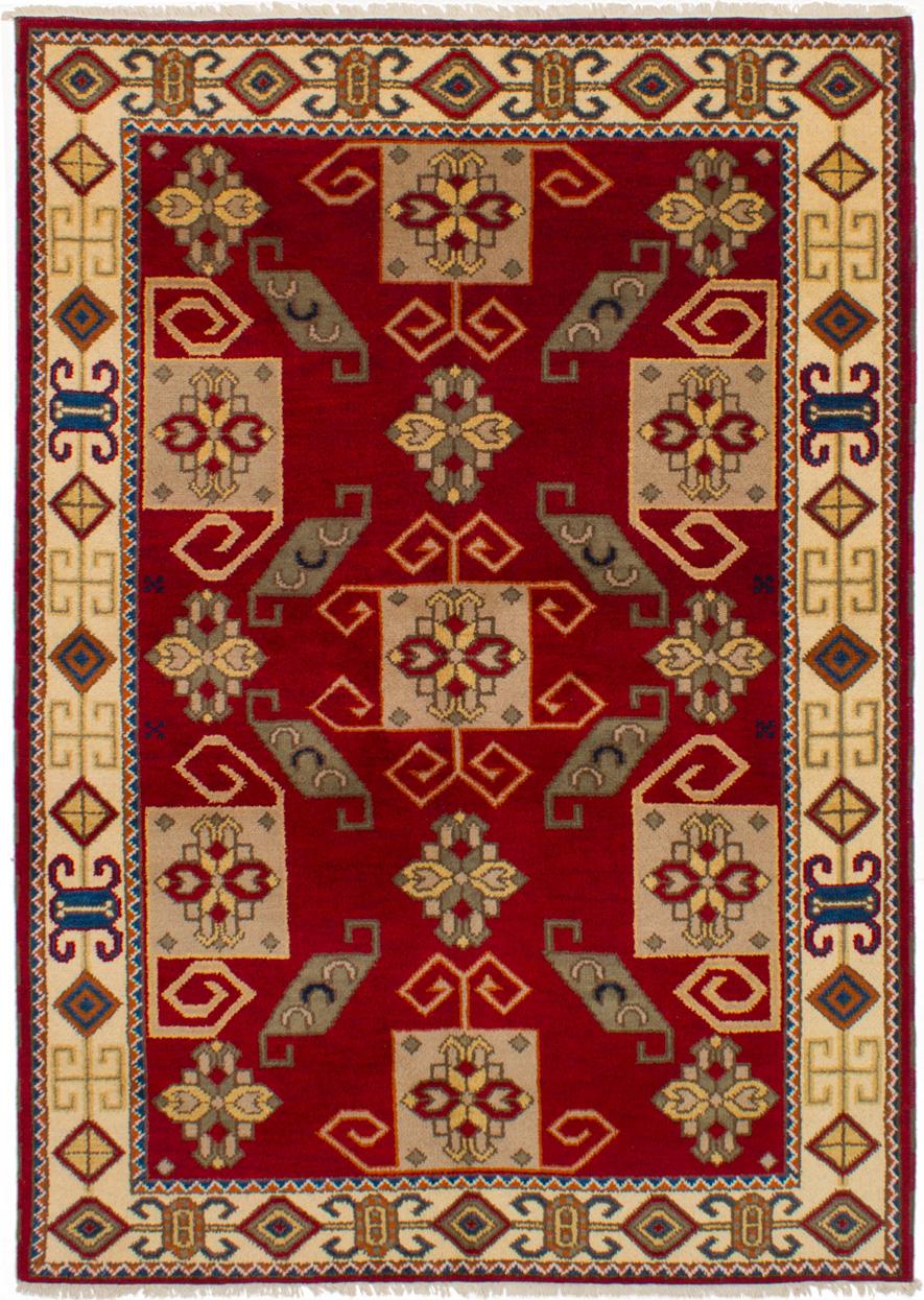 "Hand-knotted Royal Kazak Dark Red Wool Rug 5'8"" x 7'11""  Size: 5'8"" x 7'11"""
