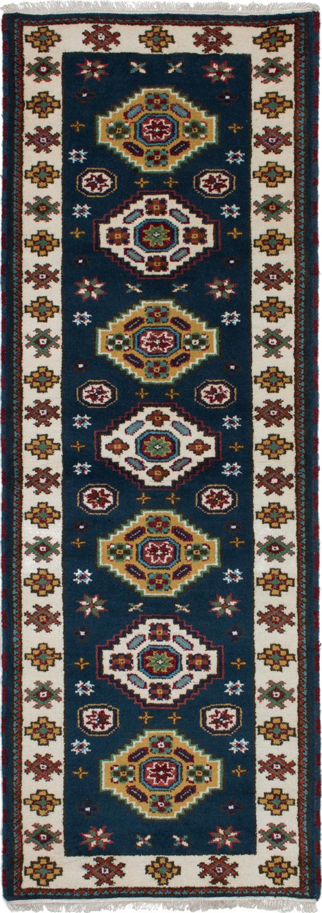 "Hand-knotted Royal Kazak Dark Navy Wool Rug 2'9"" x 8'5"" Size: 2'9"" x 8'5"""