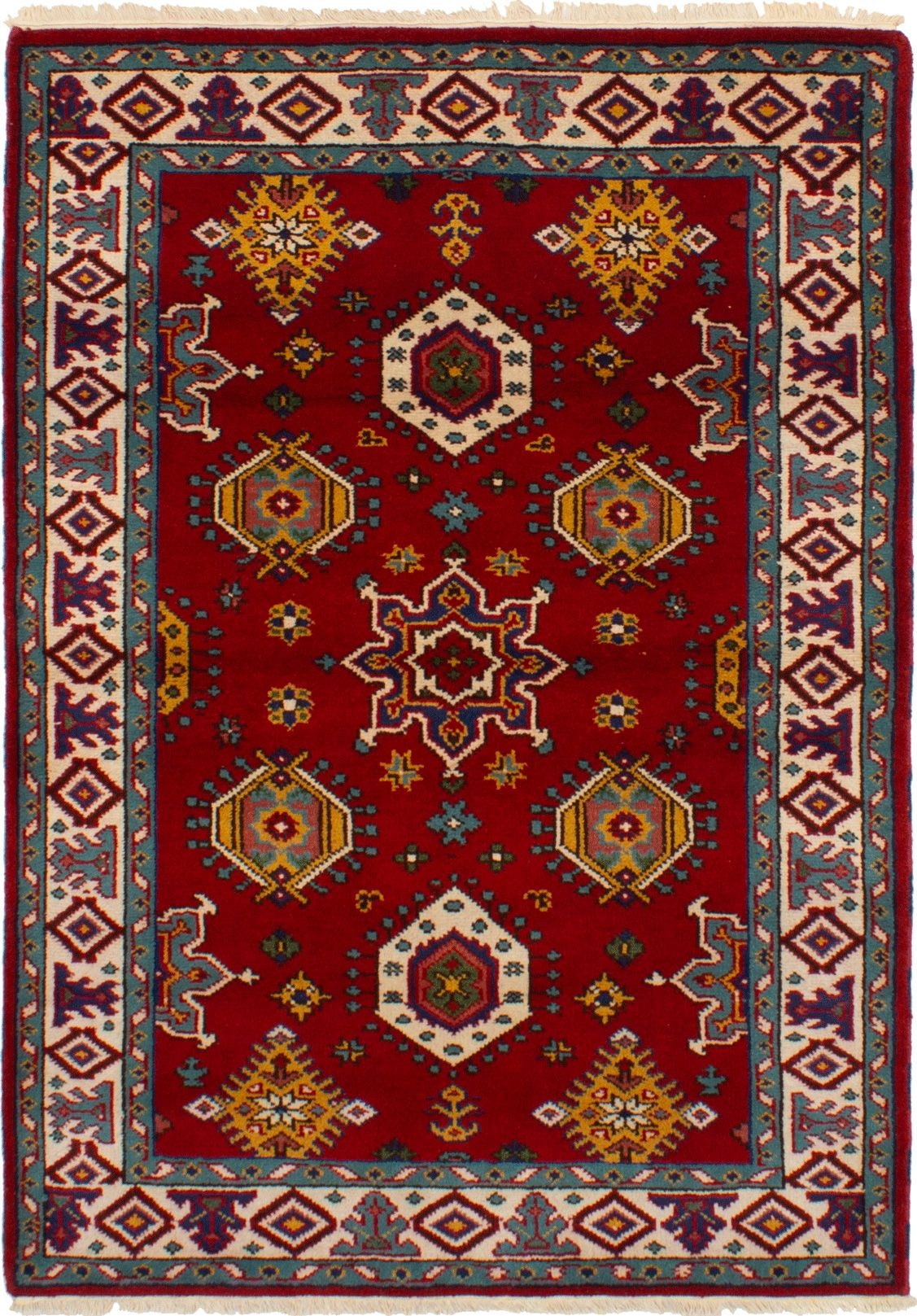 """Hand-knotted Royal Kazak Red Wool Rug 4'7"""" x 6'5""""  Size: 4'7"""" x 6'5"""""""