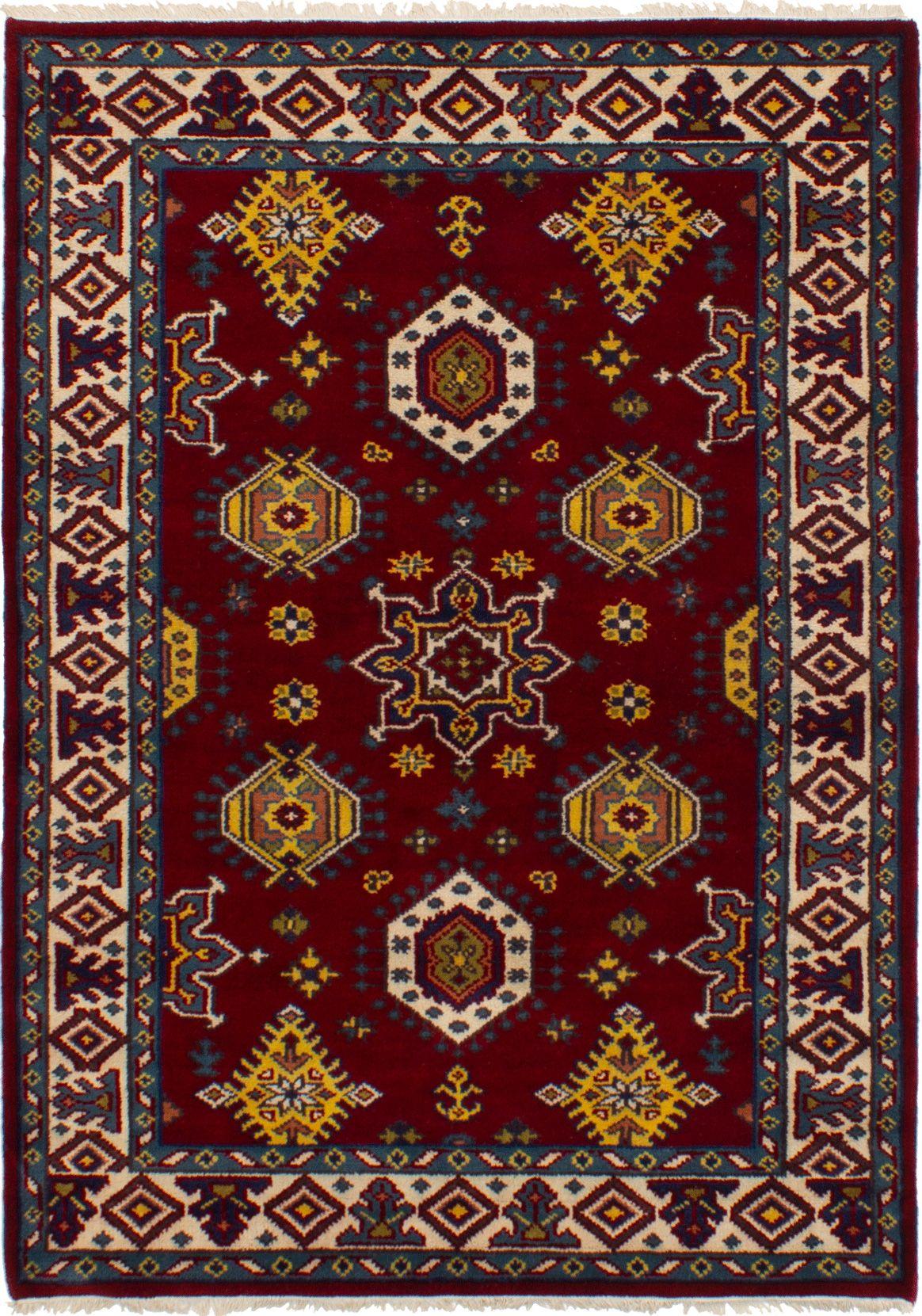 "Hand-knotted Royal Kazak Dark Red Wool Rug 4'9"" x 6'8""  Size: 4'9"" x 6'8"""
