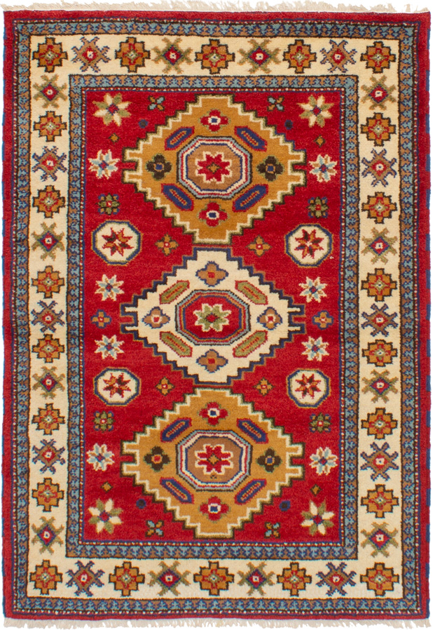 """Hand-knotted Royal Kazak Red Wool Rug 4'2"""" x 5'11""""  Size: 4'2"""" x 5'11"""""""