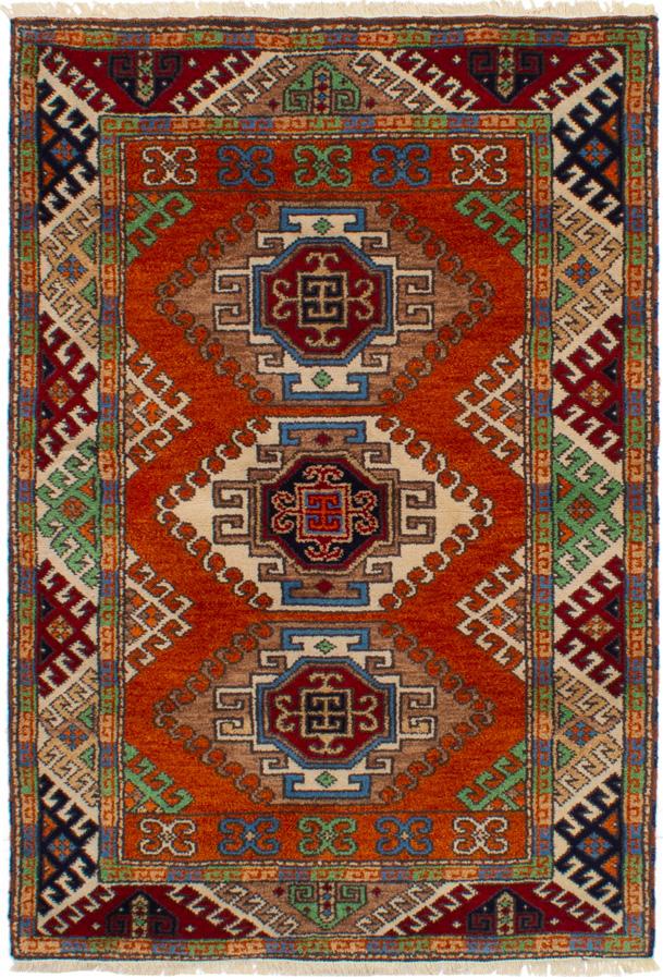 "Hand-knotted Royal Kazak Burnt Orange Wool Rug 4'1"" x 5'10"" Size: 4'1"" x 5'10"""