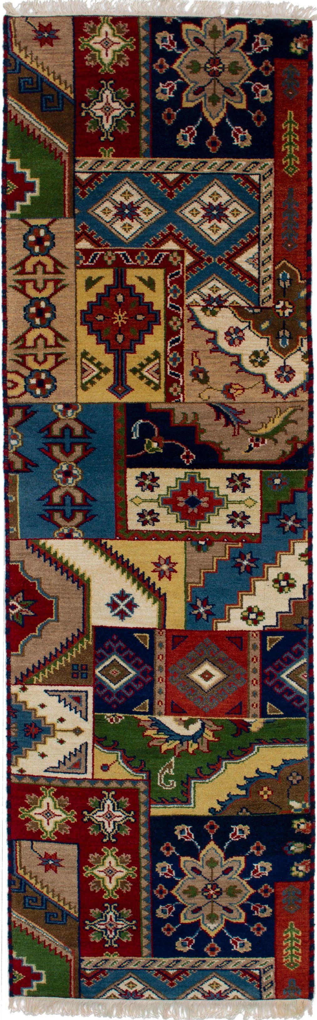 "Hand-knotted Finest Kazak Blue, Tan Wool Rug 2'8"" x 9'0"" Size: 2'8"" x 9'0"""