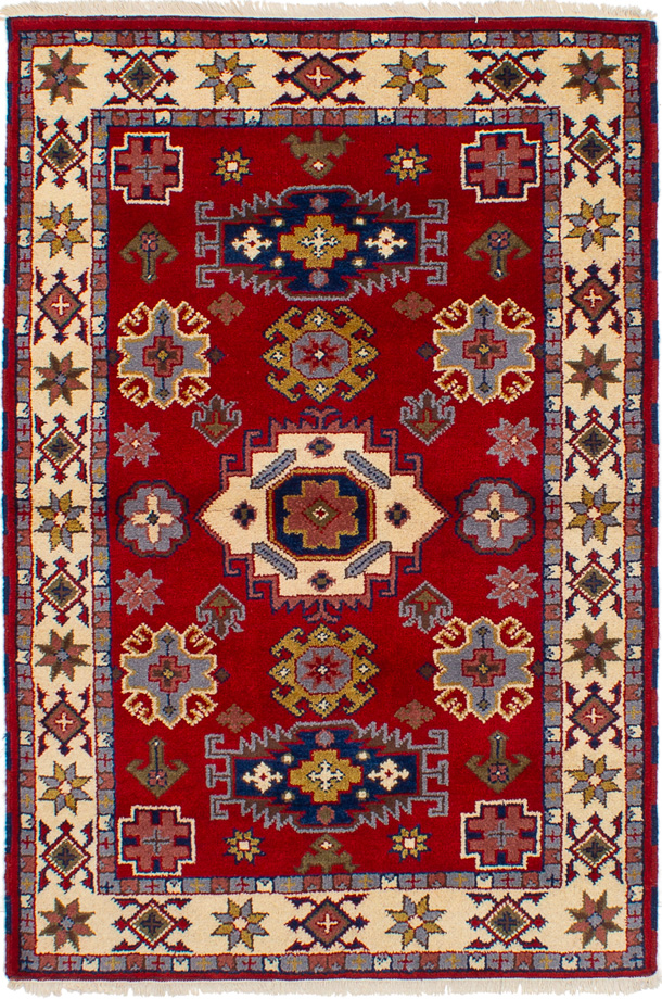 "Hand-knotted Royal Kazak Red Wool Rug 4'0"" x 6'0"" (18) Size: 4'0"" x 6'0"""