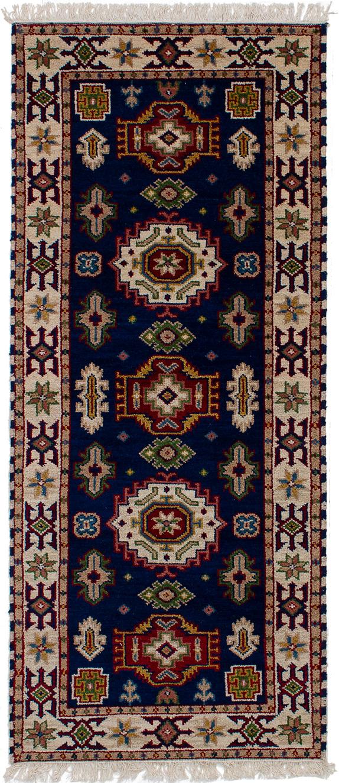 "Hand-knotted Royal Kazak Navy Blue Wool Rug 2'9"" x 6'8"" Size: 2'9"" x 6'8"""
