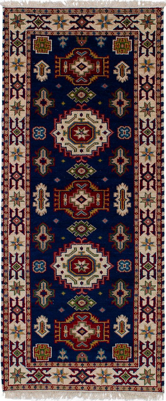 "Hand-knotted Royal Kazak Navy Blue Wool Rug 2'9"" x 6'6"" Size: 2'9"" x 6'6"""