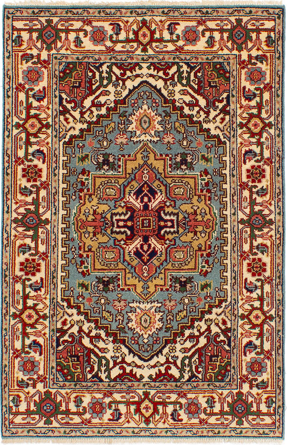 """Hand-knotted Serapi Heritage Light Blue  Wool Rug 4'0"""" x 6'0"""" Size: 4'0"""" x 6'0"""""""