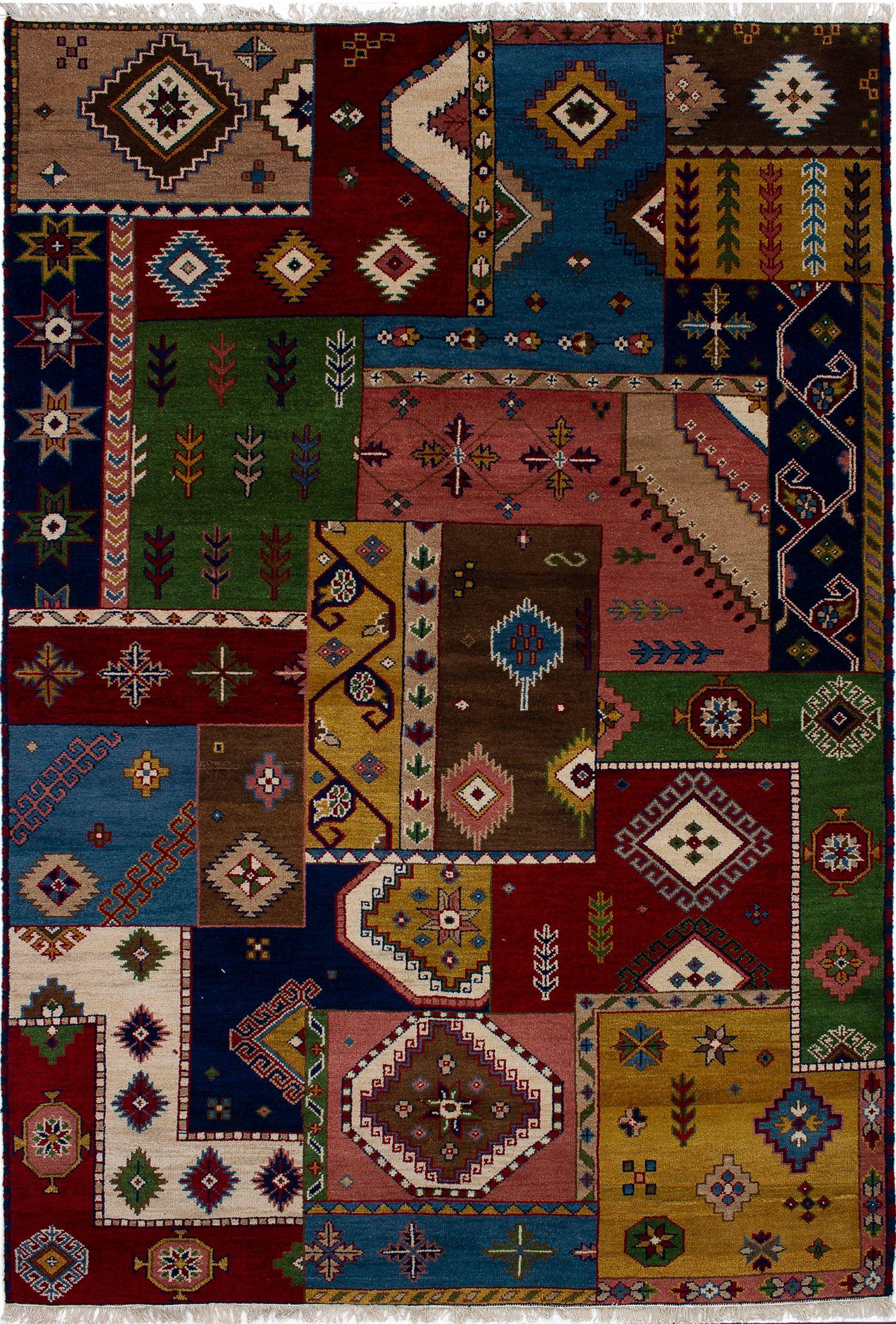 "Hand-knotted Finest Kazak Blue, Brown Wool Rug 6'7"" x 9'9"" Size: 6'7"" x 9'9"""
