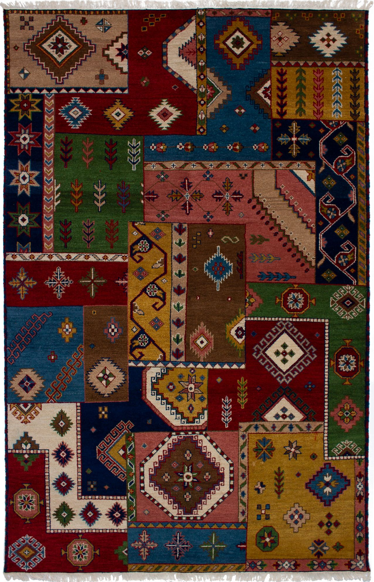 "Hand-knotted Finest Kazak Blue, Brown Wool Rug 6'5"" x 9'10""  Size: 6'5"" x 9'10"""