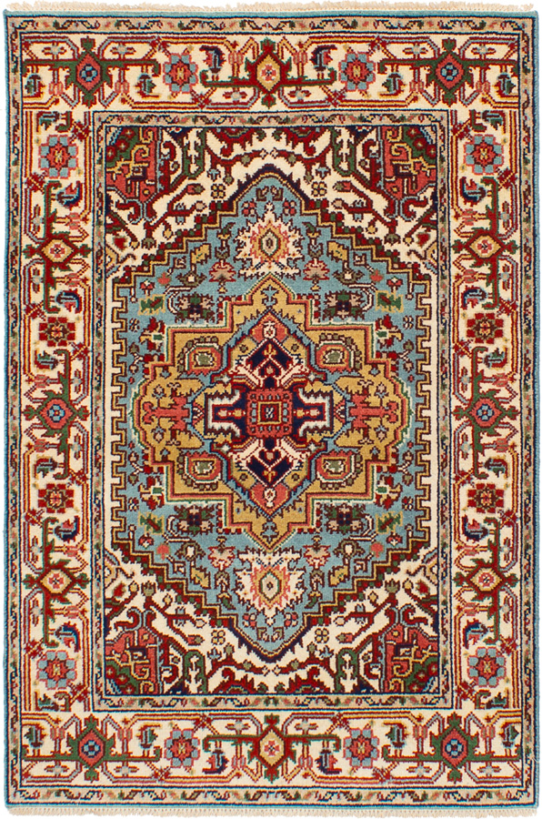 """Hand-knotted Serapi Heritage Light Blue  Wool Rug 4'1"""" x 6'0""""  Size: 4'1"""" x 6'0"""""""
